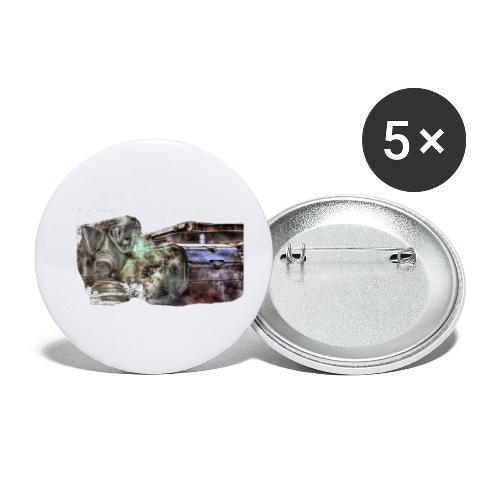 gas mask 2 white - Buttons klein 25 mm (5er Pack)