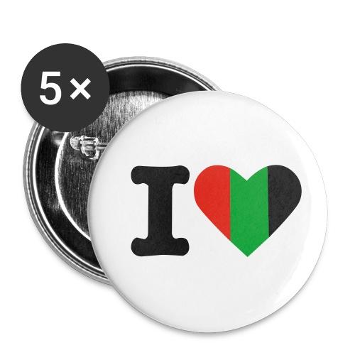 hartjeroodzwartgroen - Buttons klein 25 mm (5-pack)