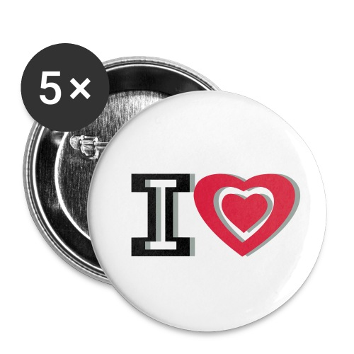 I LOVE I HEART - Buttons small 1''/25 mm (5-pack)