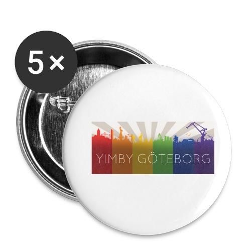 Yimby regnbågs-Tshirt - Små knappar 25 mm (5-pack)