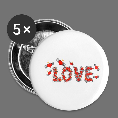 Flying Hearts LOVE - Buttons/Badges lille, 25 mm (5-pack)