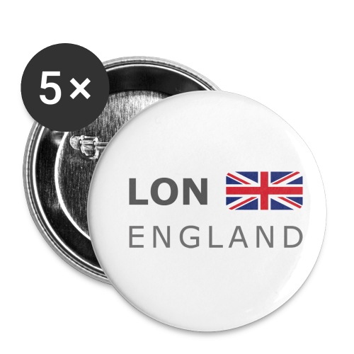 LON ENGLAND BF dark-lettered 400 dpi - Buttons small 1''/25 mm (5-pack)