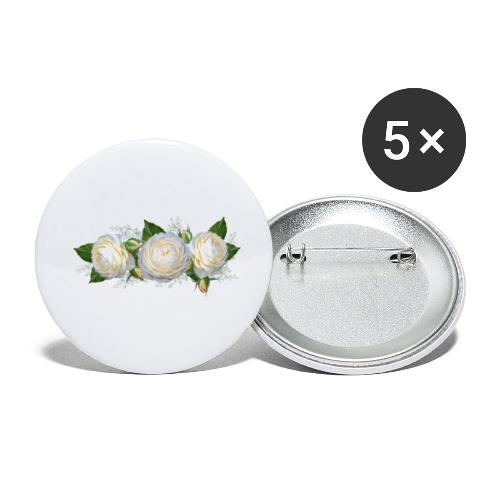 rose Blanche - Lot de 5 petits badges (25 mm)