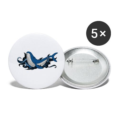 Doodle ink Whale - Confezione da 5 spille piccole (25 mm)