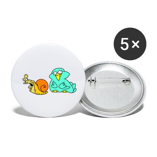 Schnecke und Vogel Nr 3 von dodocomics - Buttons klein 25 mm (5er Pack)
