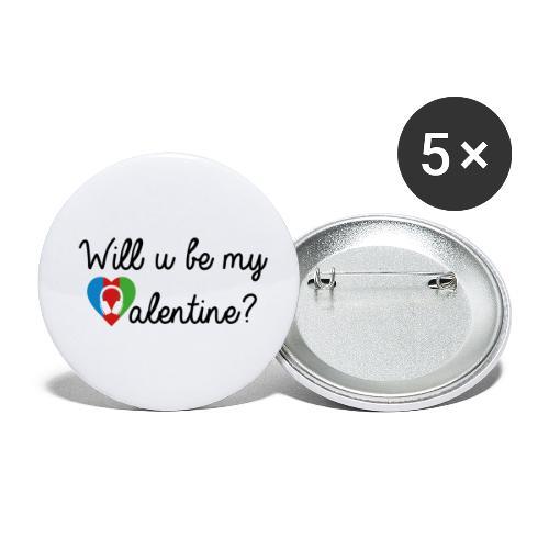 Valentine blk - Buttons klein 25 mm (5er Pack)