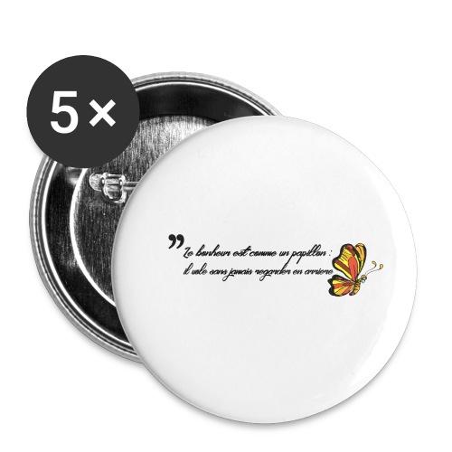 Papillon de bonheur - Lot de 5 petits badges (25 mm)