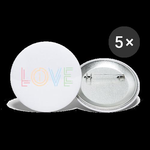 Liebe   Schriftzug kreativ bunt - Buttons klein 25 mm (5er Pack)