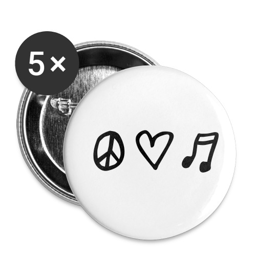 Peace, love & music - Buttons klein 25 mm (5er Pack)