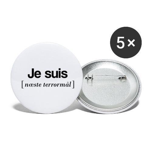Je suis (sort skrift) - Buttons/Badges lille, 25 mm (5-pack)