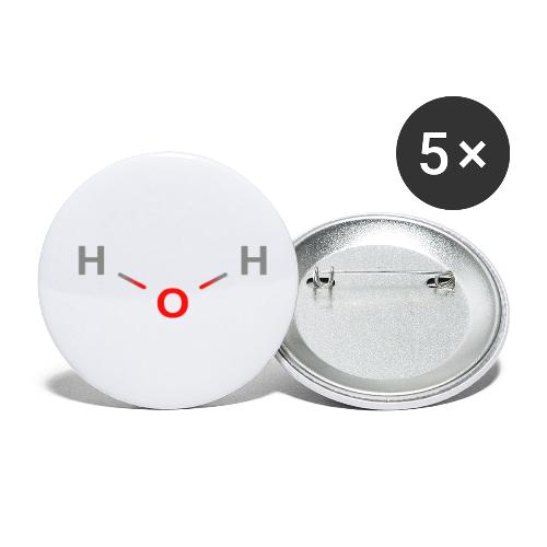 Water Molecule - Colored Structural Formula - Buttons/Badges lille, 25 mm (5-pack)