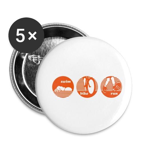 swim bike run Triathlon Sport - Buttons klein 25 mm (5er Pack)