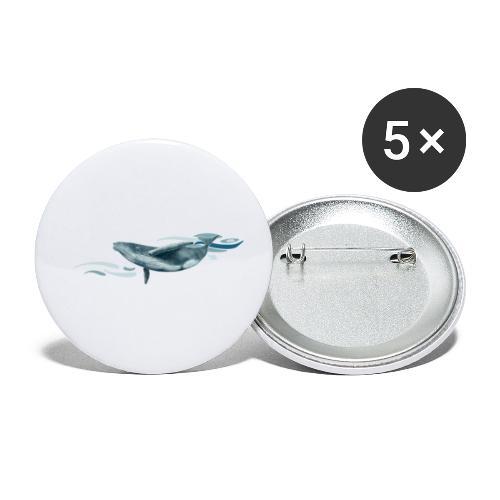 Baleine à bosse plongeante - Lot de 5 petits badges (25 mm)