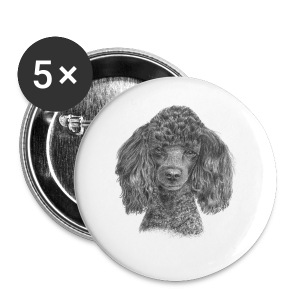 poodle-black-P - Buttons/Badges lille, 25 mm