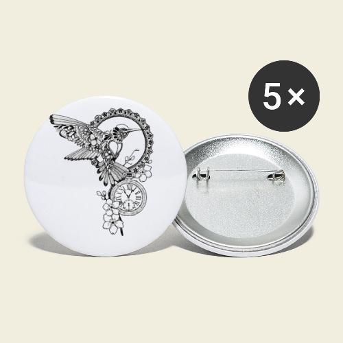 Kolibri-Uhr - Buttons klein 25 mm (5er Pack)