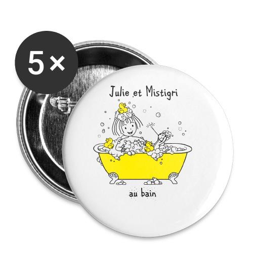 Julie et Mistigri au bain - Lot de 5 petits badges (25 mm)