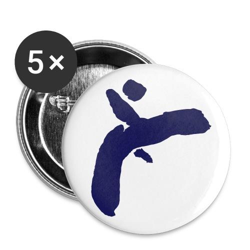 Martial Arts Kick - Slhouette Minimal Wushu Kungfu - Buttons small 1''/25 mm (5-pack)