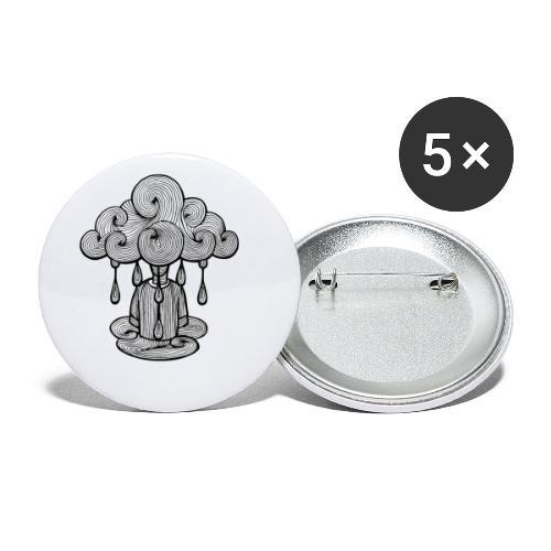 nuage lundi pluie, le lundi c'est nul... - Lot de 5 petits badges (25 mm)