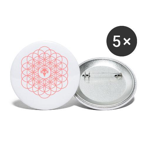 Blume des Lebens Pink - Buttons klein 25 mm (5er Pack)