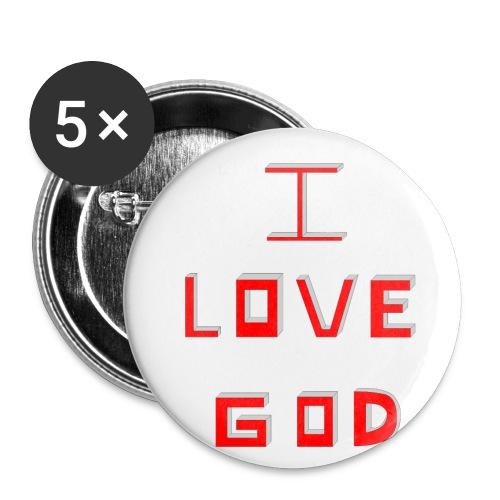I LOVE GOD - Paquete de 5 chapas pequeñas (25 mm)