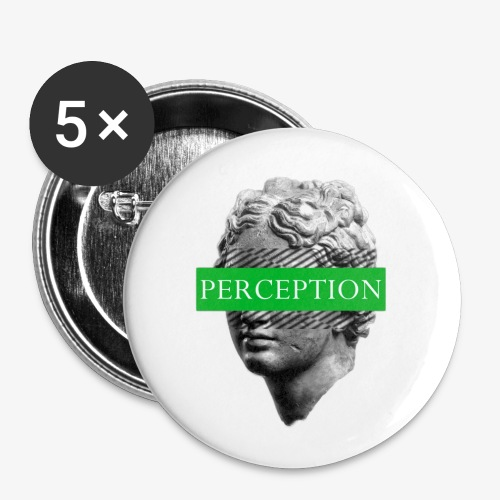 TETE GRECQ GREEN - PERCEPTION CLOTHING - Lot de 5 petits badges (25 mm)