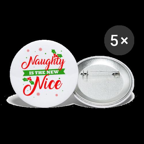 Weihnachten   unartig artig nett - Buttons klein 25 mm (5er Pack)