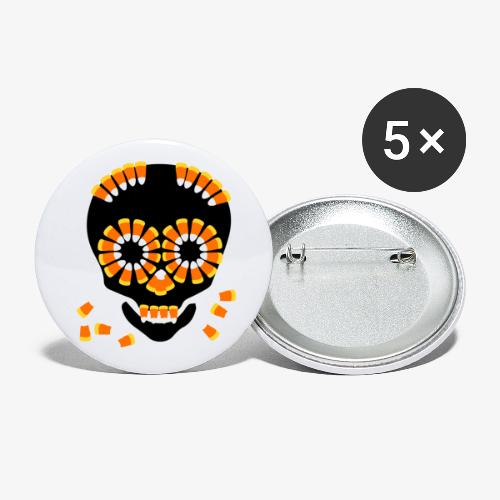 Skull Candy Corn HallOWeen by patjila - Buttons small 1''/25 mm (5-pack)