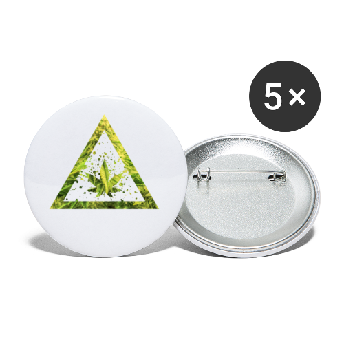 Marijuana Cannabisblatt Triangle with Splashes - Buttons klein 25 mm (5er Pack)