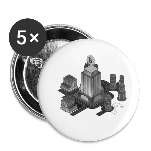 Cryptocurrency - Bitcoin Tower (BTC) - Buttons klein 25 mm (5er Pack)