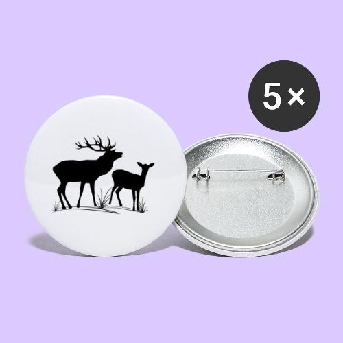 Hirsch, Reh, Rotwild, Damwild, Wald, Tiere, Rehe - Buttons klein 25 mm (5er Pack)