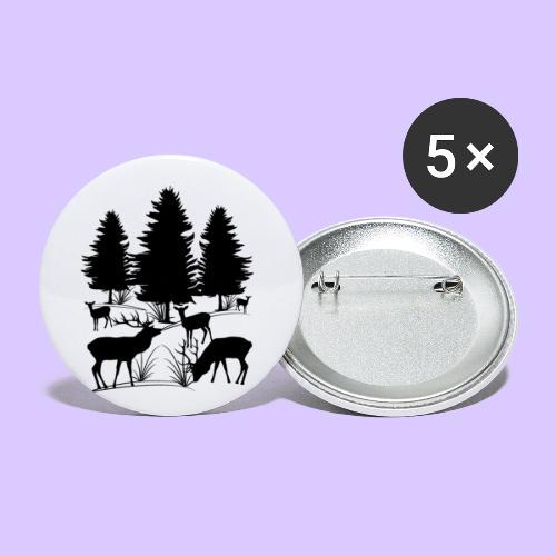 Tiere im Wald, Hirsch, Reh, Rehe, Bäume, Hirsche - Buttons klein 25 mm (5er Pack)