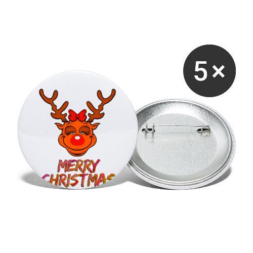 Rudolph weiblich - Buttons klein 25 mm (5er Pack)