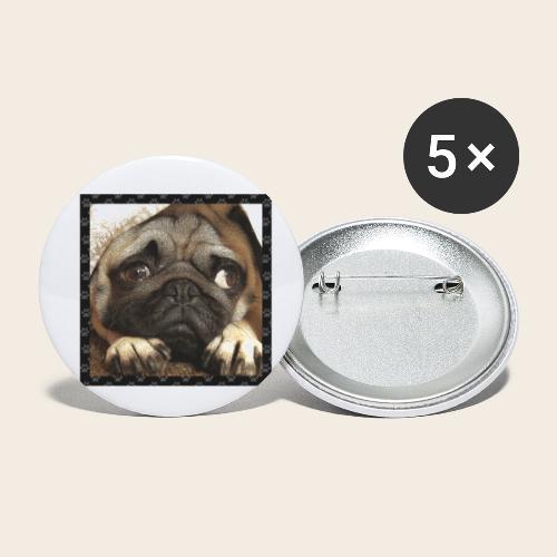 Mops Hund 1 - Buttons klein 25 mm (5er Pack)
