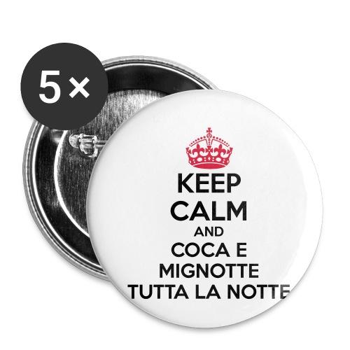 Coca e Mignotte Keep Calm - Confezione da 5 spille piccole (25 mm)