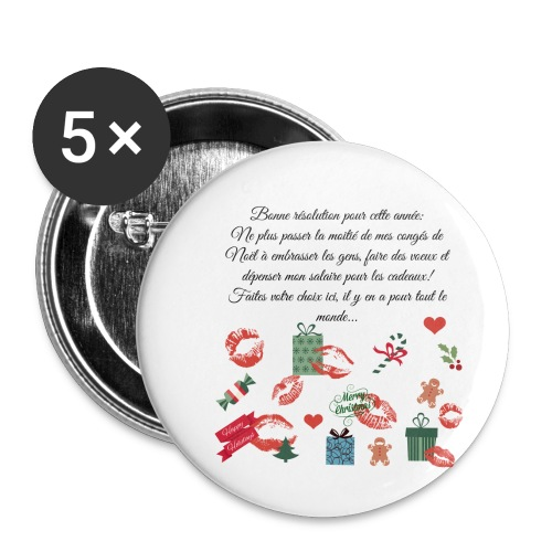Bonne resolution Noël Nouvel An - Lot de 5 petits badges (25 mm)