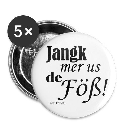 Jang mer us de Föß! - Buttons klein 25 mm (5er Pack)