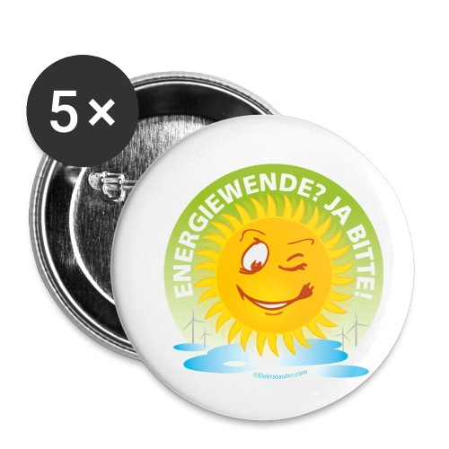 Energiewende Ja bitte - Buttons klein 25 mm (5er Pack)