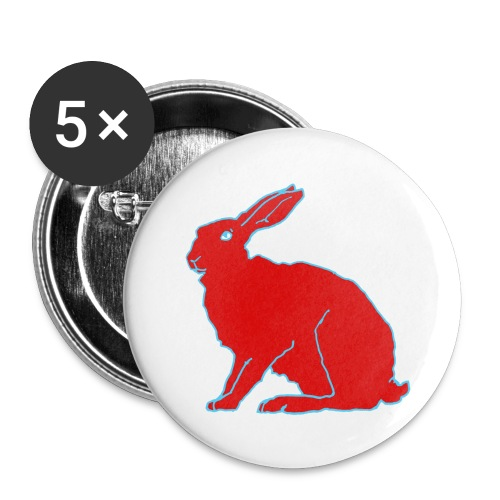 Roter Hase - Buttons klein 25 mm (5er Pack)