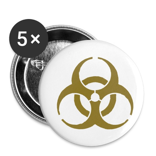 Biohazard symbol - Buttons small 1''/25 mm (5-pack)