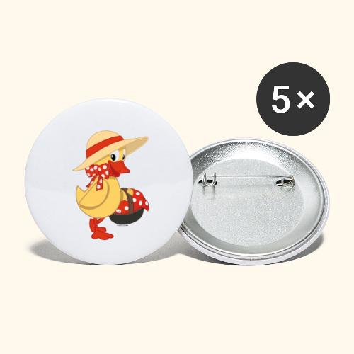 Schnatterinchen mit Korb - Buttons klein 25 mm (5er Pack)