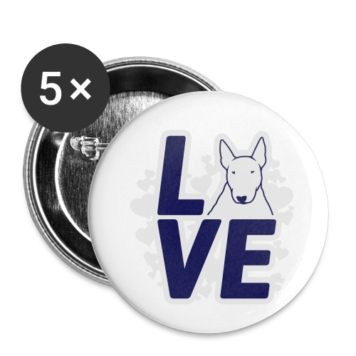 BULL TERRIER LOVE - Buttons klein 25 mm (5er Pack)
