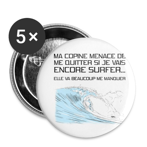 copine-surf - Lot de 5 petits badges (25 mm)