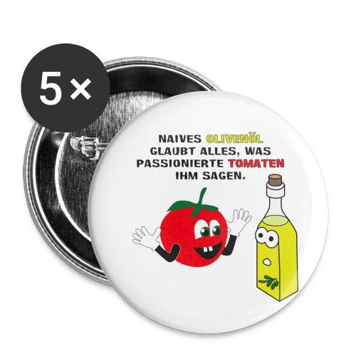 Tomate und Olivenöl - Buttons klein 25 mm (5er Pack)