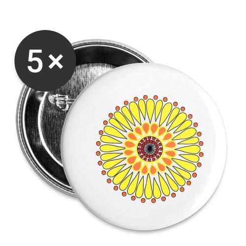 Yellow Sunflower Mandala - Buttons small 1''/25 mm (5-pack)