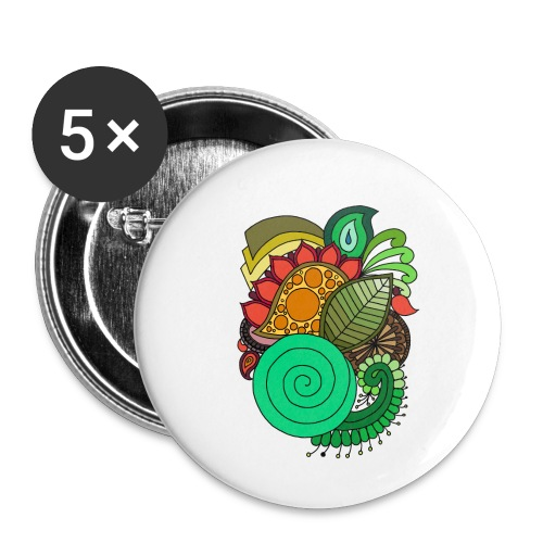 Coloured Leaf Mandala - Buttons small 1''/25 mm (5-pack)
