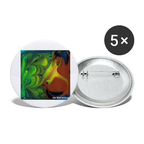TIAN GREEN Mosaik CH069 - Die Welt ist bunt - Buttons klein 25 mm (5er Pack)