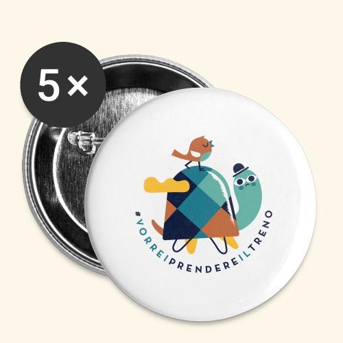 Tartaruga e uccellino - Confezione da 5 spille piccole (25 mm)
