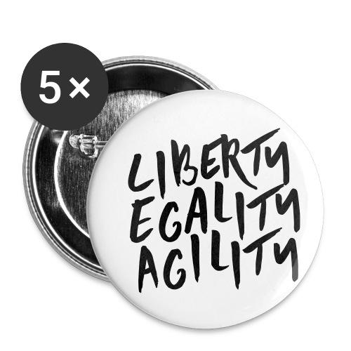 Liberty Egality Agility - Tote Bag - Lot de 5 petits badges (25 mm)