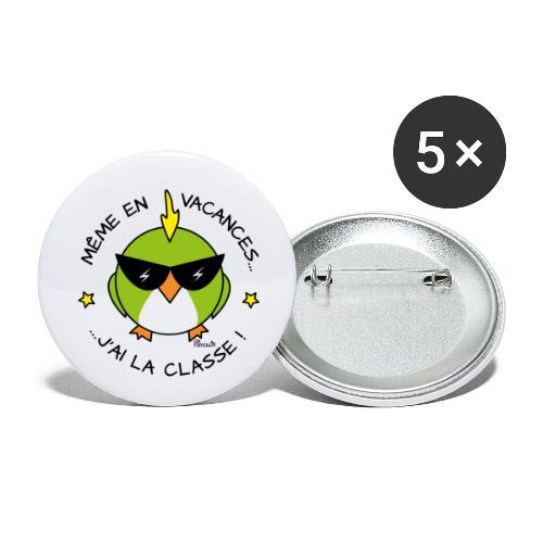 Oiseau Lunettes, Cadeau Instit, J'ai la Classe - Lot de 5 petits badges (25 mm)