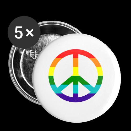 Gay pride peace symbool in regenboog kleuren - Buttons klein 25 mm